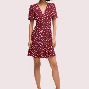 NEW Kate Spade Mallow Dot Crepe Dress BEET JUICE